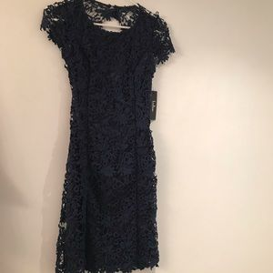 NEVER WORN Navy Blue Lace Backless Dress!!